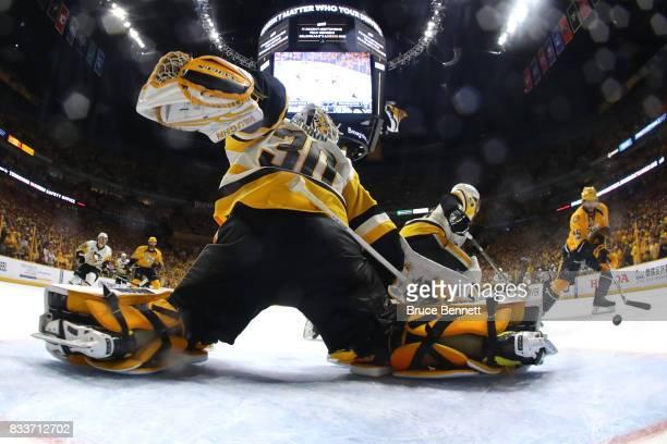 Matt Murray of the Pittsburgh Penguins tends goal against Nashville Predators at Bridgestone Arena on June 05 2017 in Nashville Tennessee