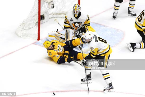 Matt Murray of the Pittsburgh Penguins tends goal against the Nashville Predators in Game Four of the 2017 NHL Stanley Cup Final at Bridgestone Arena...