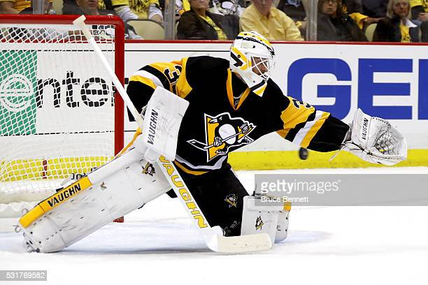 Matt Murray of the Pittsburgh Penguins tends goal against the Tampa Bay Lightning in Game Two of the Eastern Conference Final during the 2016 NHL...