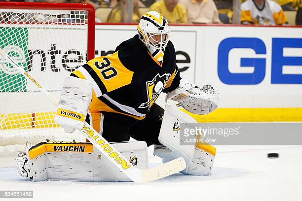 Matt Murray of the Pittsburgh Penguins tends goal during the first period against the Tampa Bay Lightning in Game Seven of the Eastern Conference...