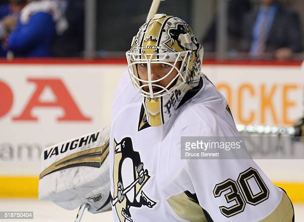 Matt Murray of the Pittsburgh Penguins tends net against the New York Islanders at the Barclays Center on April 2 2016 in the Brooklyn borough of New...