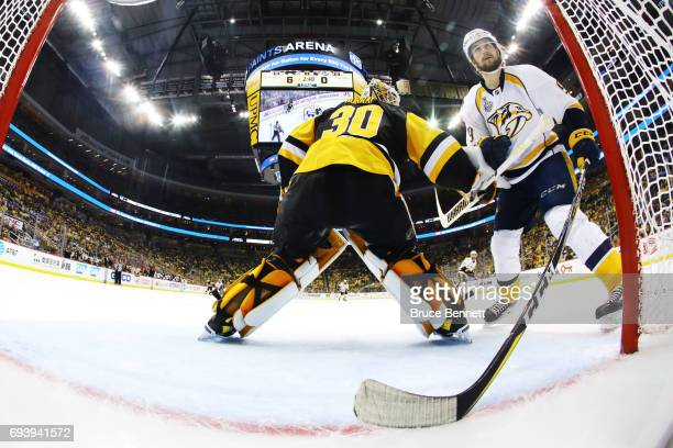 Matt Murray of the Pittsburgh Penguins tends to net against Filip Forsberg of the Nashville Predators during the third period in Game Five of the...