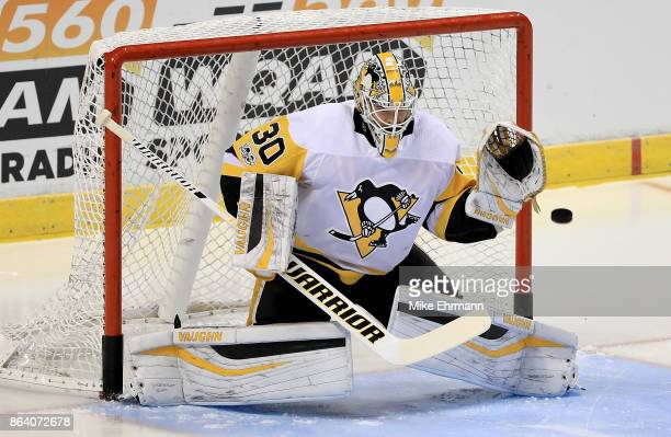 Matt Murray of the Pittsburgh Penguins warms up during a game against the Florida Panthers at BBT Center on October 20 2017 in Sunrise Florida