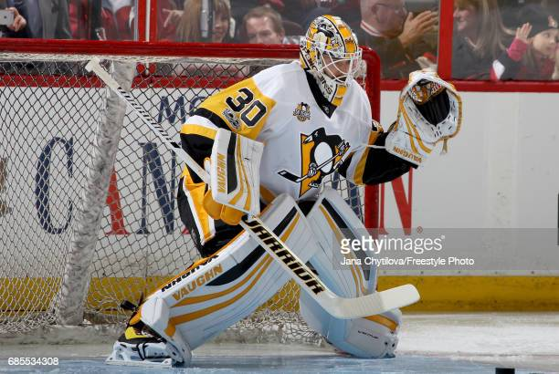 Matt Murray of the Pittsburgh Penguins warms up in goal during warm ups prior to Game Four of the Eastern Conference Final against the Ottawa...