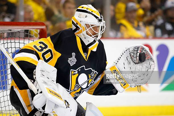 Matt Murray of the Pittsburgh Penguins warms up prior to Game One of the 2016 NHL Stanley Cup Final against the San Jose Sharks at Consol Energy...