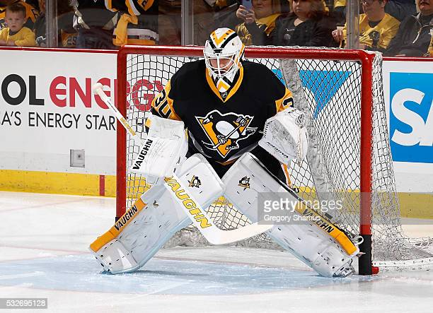 Matt Murray of the Pittsburgh Penguins warms up prior to Game Two of the Eastern Conference Final against the Tampa Bay Lightning during the 2016 NHL...
