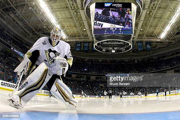 Matt Murray of the Pittsburgh Penguins warms up prior to the second period in Game Four of the 2016 NHL Stanley Cup Final against the San Jose Sharks...