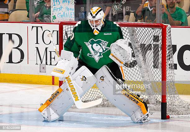 Matt Murray of the Pittsburgh Penguins wears a jersey celebrating St Patrick's Day prior to the game against the Carolina Hurricanes at Consol Energy...