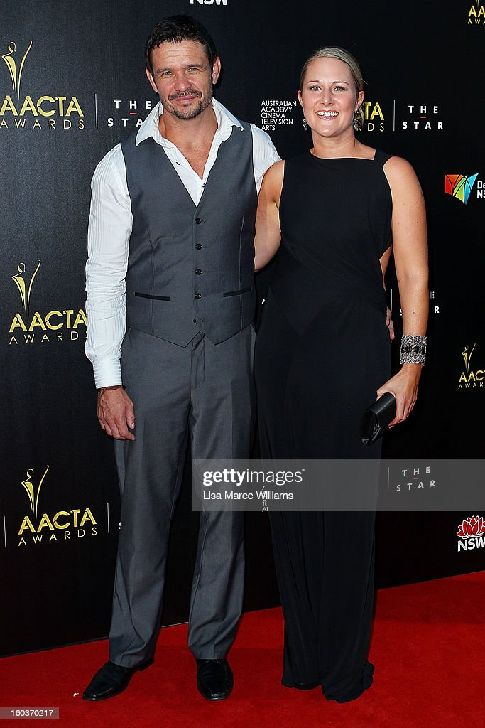 Matt Nable and Cassandra Nable arrive at the 2nd Annual AACTA Awards at The Star on January 30, 2013 in Sydney, Australia.