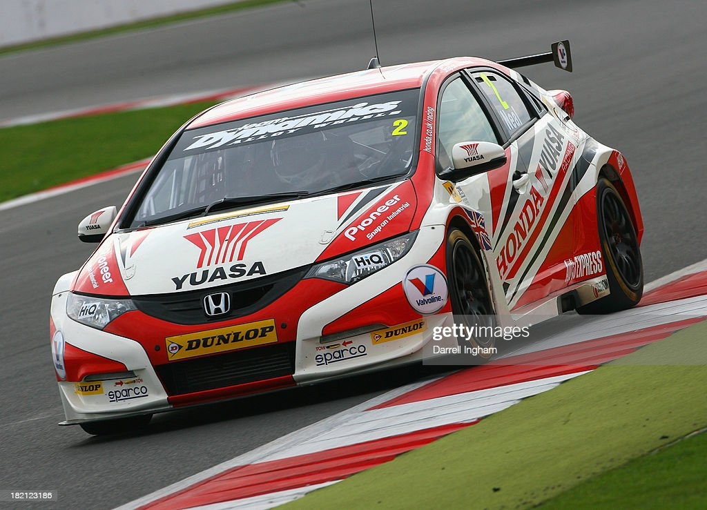 Matt Neal drives the #2 Honda Yuasa Racing Honda Civic during practice for the Dunlop MSA British Touring Car Championship race at the Silverstone Circuit on September 28, 2013 in Towcester, United Kingdom.