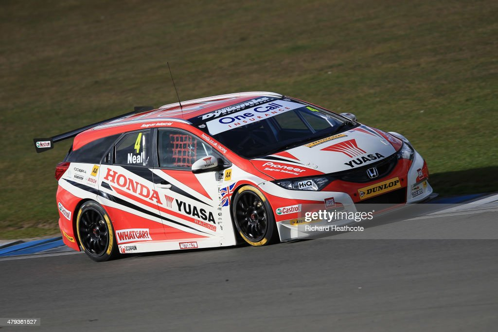 Matt Neal in the Honda Yuasa Racing Civic Tourer in action during the 2014 Dunlop MSA British Touring Car Championship media day at Donington Park on March 18, 2014 in Castle Donington, England.