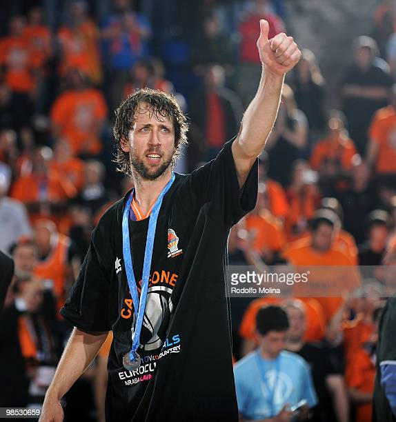 Matt Nielsen #44 of Power Electronics Valencia celebrates during the Champion Award Ceremony at Fernando Buesa Arena on April 18 2010 in...