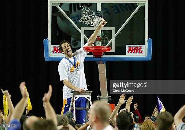 Matt Nielsen of the Kings celebrates after they defeated the Razorbacks during Game five of the NBL Finals series between the Sydney Kings and the...