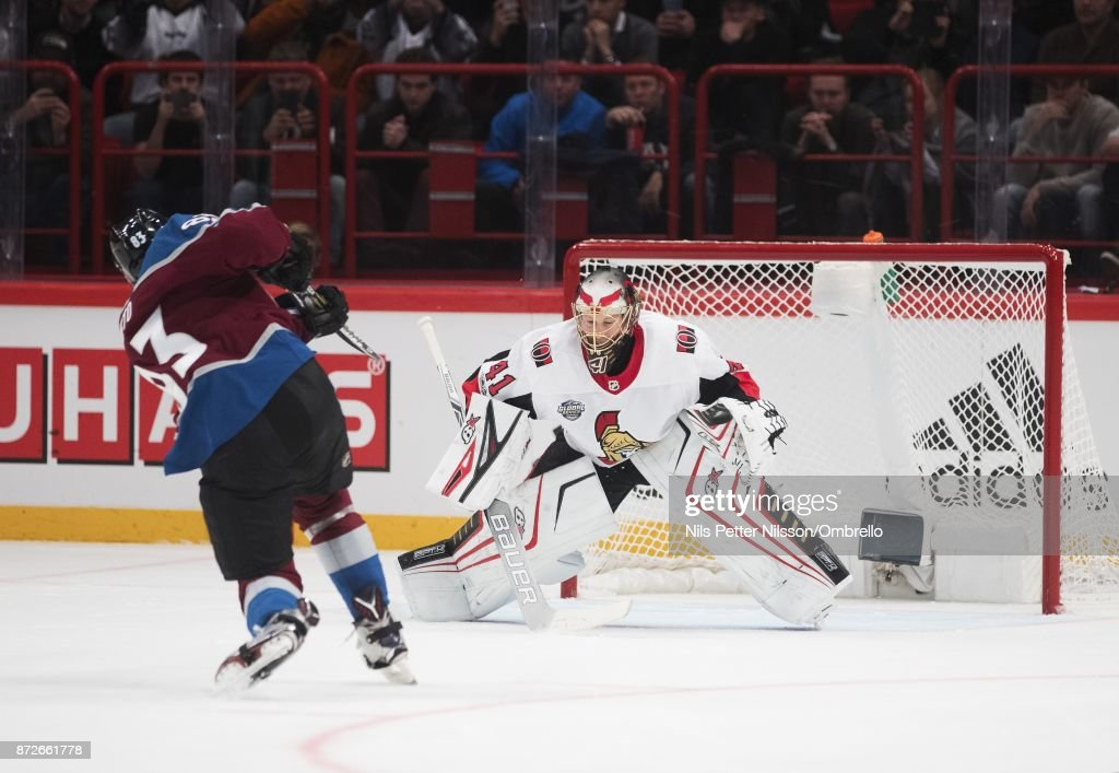 Matt Nieto #83 of Colorado Avalanche shoots a penalty shot but misses during the 2017 SAP NHL Global Series match between Ottawa Senators and Colorado Avalanche at Ericsson Globe on November 10, 2017 in Stockholm, .