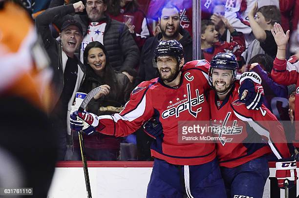 Matt Niskanen of the Washington Capitals celebrates with Alex Ovechkin after scoring a goal against the Philadelphia Flyers in the third period...