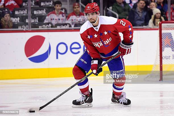 Matt Niskanen of the Washington Capitals controls the puck in the third period against the New York Rangers during a game at Verizon Center on...