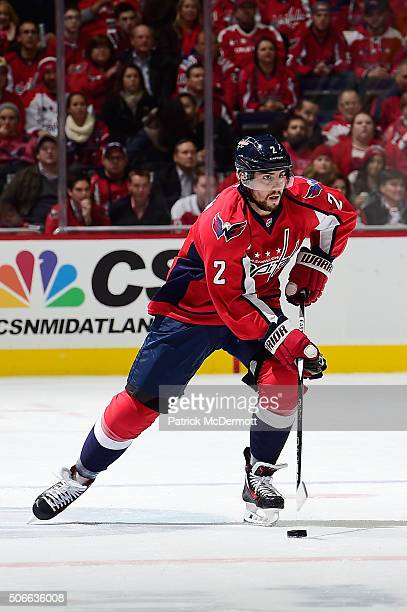 Matt Niskanen of the Washington Capitals controls the puck in the first period during an NHL game against the Tampa Bay Lightning at Verizon Center...
