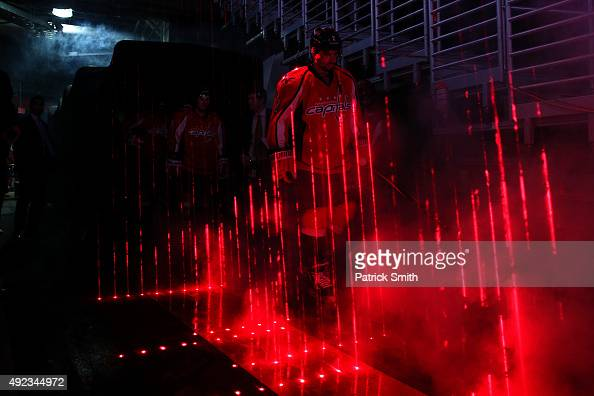 Matt Niskanen of the Washington Capitals is introduced before playing the New Jersey Devils at Verizon Center on October 10 2015 in Washington DC The...