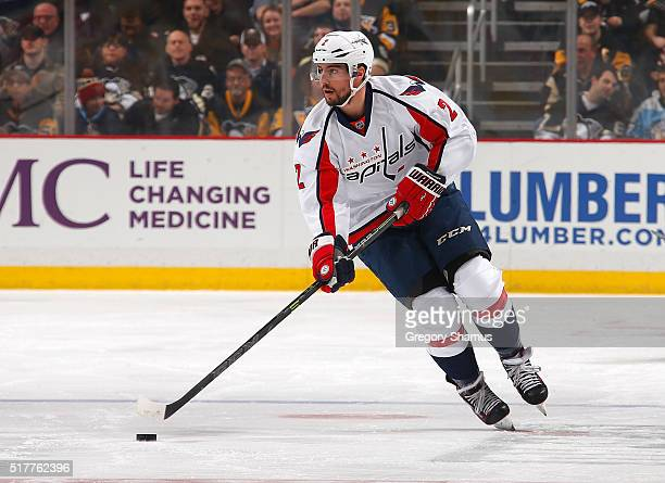 Matt Niskanen of the Washington Capitals moves the puck against the Pittsburgh Penguins at Consol Energy Center on March 20 2016 in Pittsburgh...