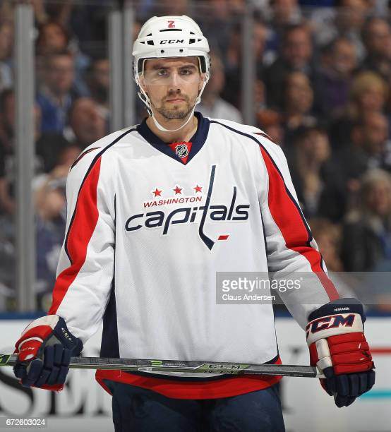Matt Niskanen of the Washington Capitals waits for a faceoff against the Toronto Maple Leafs in Game Six of the Eastern Conference Quarterfinals...