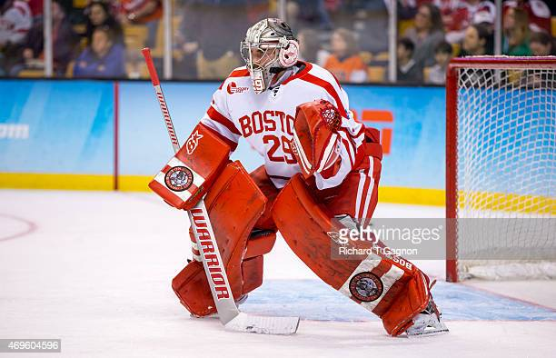Matt O'Connor of the Boston University Terriers during the 2015 NCAA Division I Men's Hockey Frozen Four Championship Final against the Providence...