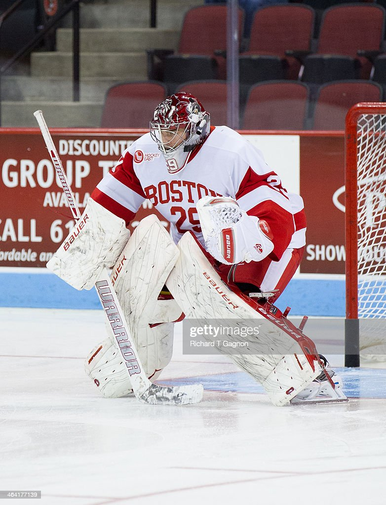 Matt O'Connor #29 of the Boston University Terriers warms-up before NCAA hockey action against the Dartmouth College Big Green at Agganis Arena on January 8, 2014 in Boston, Massachusetts.