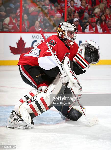 Matt O'Connor of the Ottawa Senators guards his net against the Montreal Canadiens at Canadian Tire Centre on October 11 2015 in Ottawa Ontario Canada