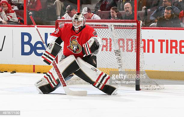 Matt O'Connor of the Ottawa Senators warms up prior to a game against the Detroit Red Wings at Canadian Tire Centre on November 16 2015 in Ottawa...