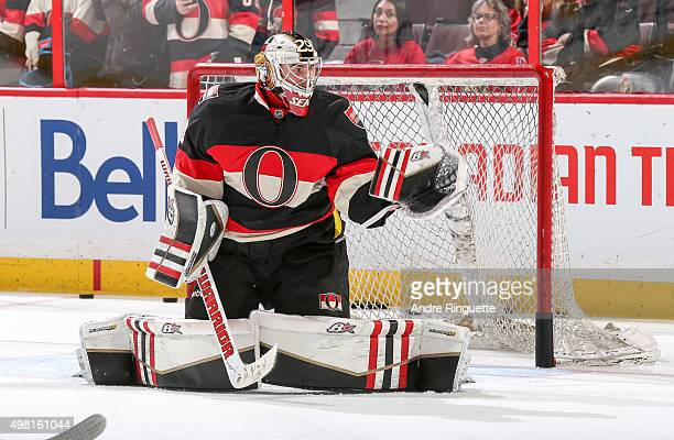Matt O'Connor of the Ottawa Senators warms up prior to a game against the Columbus Blue Jackets at Canadian Tire Centre on November 19 2015 in Ottawa...