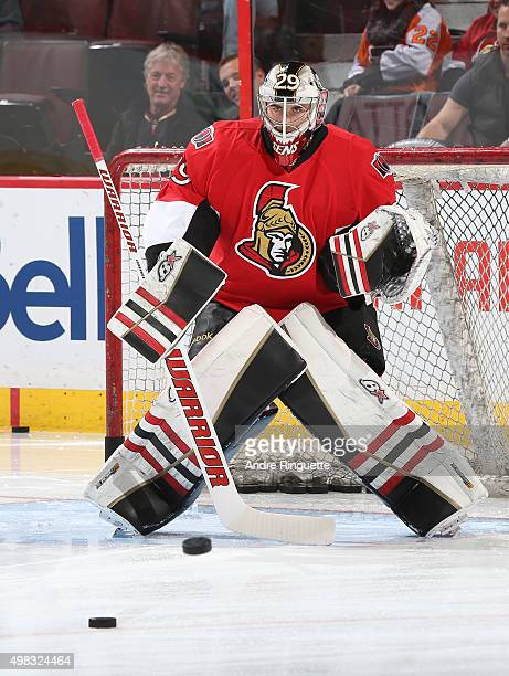Matt O'Connor of the Ottawa Senators warms up prior to a game against the Philadelphia Flyers at Canadian Tire Centre on November 21 2015 in Ottawa...