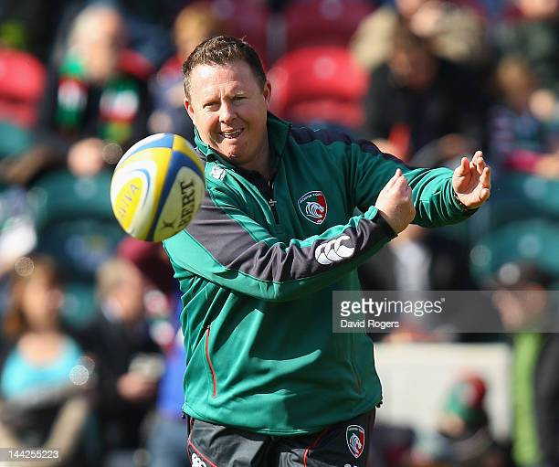 Matt O'Connor the Leicester assistant coach passes the ball prior to the Aviva Premiership semi final match between Leicester Tigers and Saracens at...
