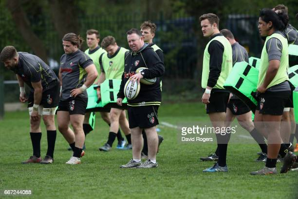 Matt O'Connor the Leicester Tigers head coach looks on during the Leicester Tigers training session held at their training centre on April 11 2017 in...