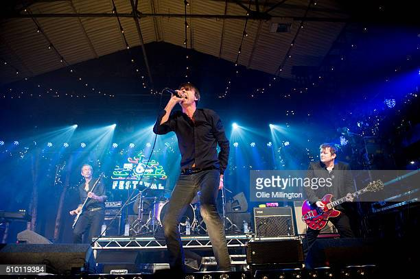 Matt Osman Brett Anderson Simon Gilbert and Richard Oakes of Suede perform headlining day 2 of the BBC 6 Music Festival onstage at Motion on February...