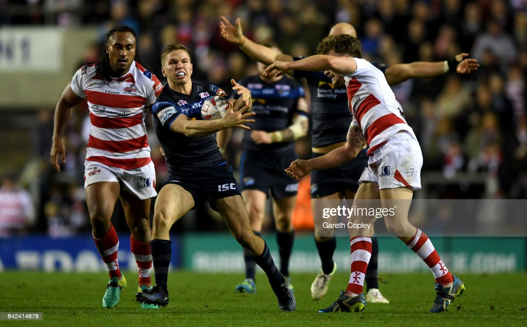 Matt Parcell of Leeds breaks the Leigh line during the Betfred Super League match between Leigh Centurions and Leeds Rhinos at Leigh Sports Village on February 17, 2017 in Leigh, Greater Manchester.