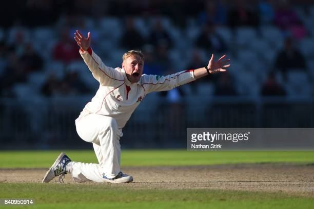 Matt Parkinson of Lancashire appeals during the County Championship Division One match between Lancashire and Warwickshire at Old Trafford on August...