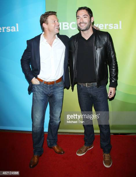 Matt Passmore and Tom Ellis arrive at NBCUniversal's 2014 Summer TCA Tour Day 1 held at The Beverly Hilton Hotel on July 13 2014 in Beverly Hills...