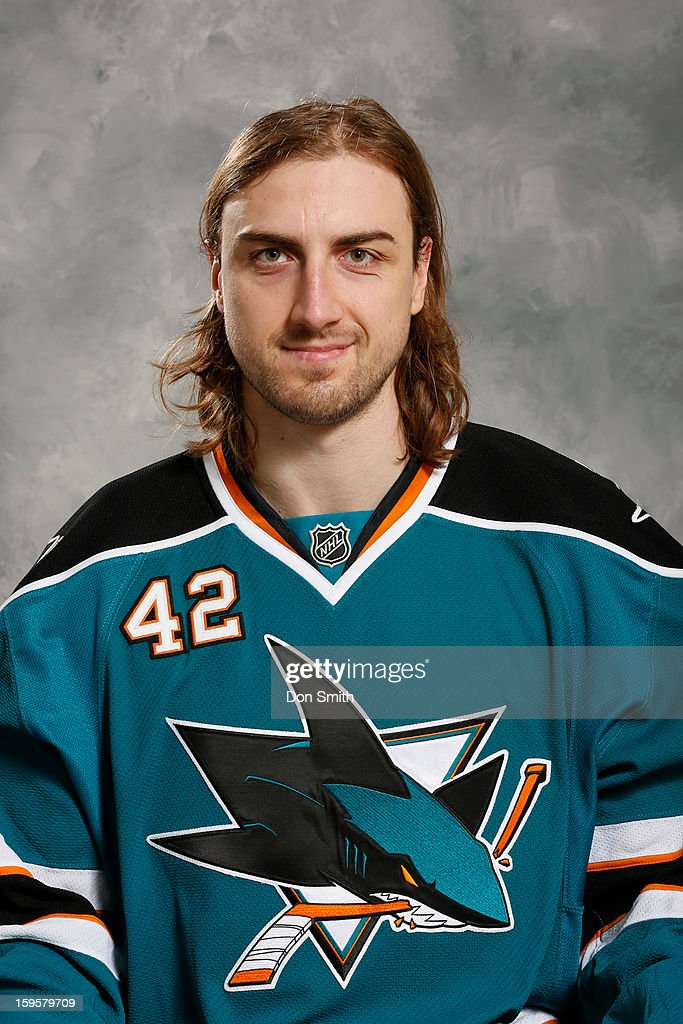 Matt Pelech of the San Jose Sharks poses for his official headshot for the 2012-13 season on January 13, 2013 at Sharks Ice in San Jose, California.