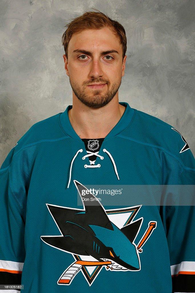 Matt Pelech of the San Jose Sharks poses for his official headshot for the 2013-14 season on September 11, 2013 at SAP Center in San Jose, California.