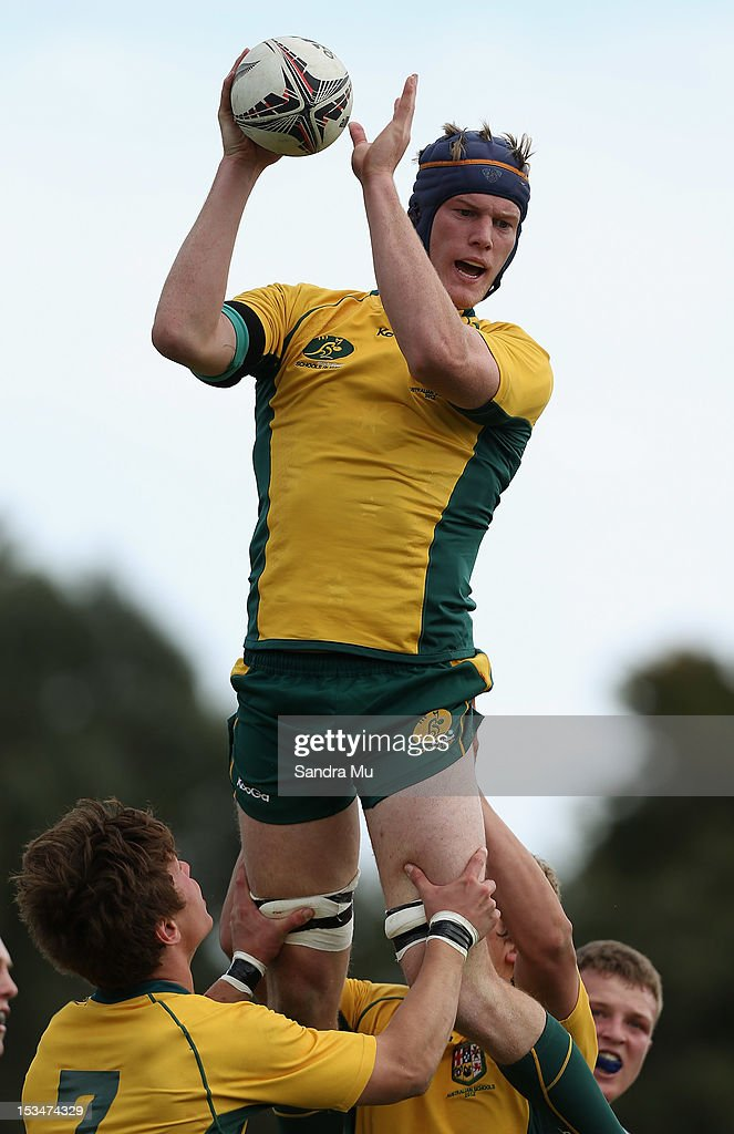 Matt Philip of Australia in the lineout during the Test between New Zealand Schools and Australia Schools at Auckland Grammar on October 6, 2012 in Auckland, New Zealand.