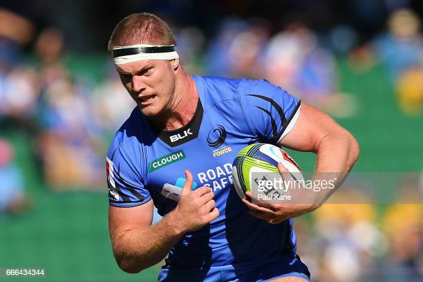 Matt Philip of the Force runs the ball during the round seven Super Rugby match between the Force and the Kings at nib Stadium on April 9 2017 in...