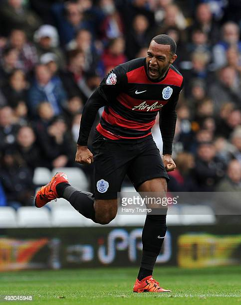 Matt Phillips of Queens Park Rangers celebrates his sides first goal during the Sky Bet Championship match between Birmingham City and Queens Park...