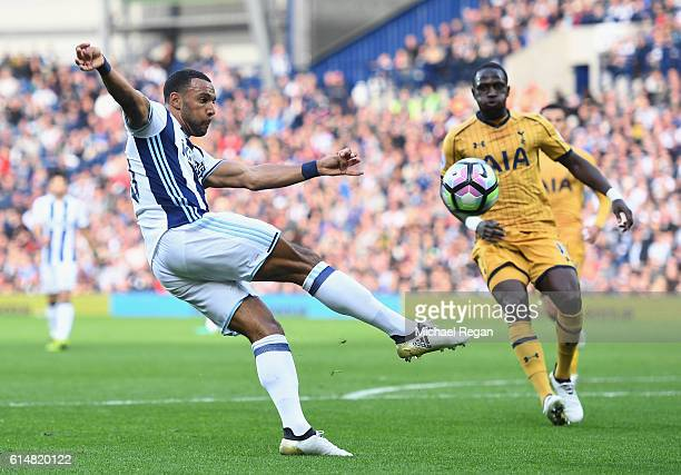 Matt Phillips of West Bromwich Albion attempts a volley during the Premier League match between West Bromwich Albion and Tottenham Hotspur at The...