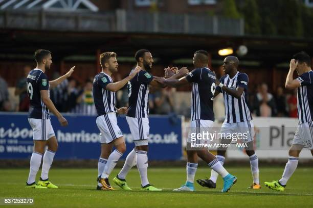 Matt Phillips of West Bromwich Albion celebrates after scoring a goal to make it 02 during the Carabao Cup Second Round match between Accrington...
