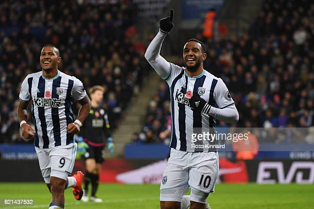 Matt Phillips of West Bromwich Albion celebrates after scoring his sides second goal during the Premier League match between Leicester City and West...