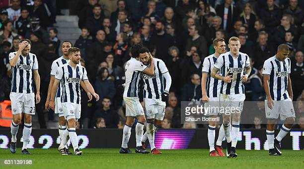 Matt Phillips of West Bromwich Albion celebrates scoring his sides first goal with team mates during the Emirates FA Cup Third Round match between...
