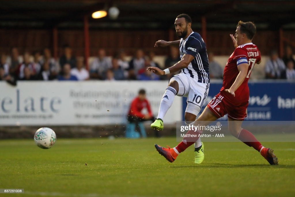 Matt Phillips of West Bromwich Albion scores a goal to make it 0-2 during the Carabao Cup Second Round match between Accrington Stanley and West Bromwich Albion at Wham Stadium on August 22, 2017 in Accrington, England.