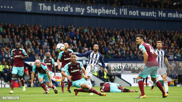Matt Phillips of West Bromwich Albion shoots during the Premier League match between West Bromwich Albion and West Ham United at The Hawthorns on...
