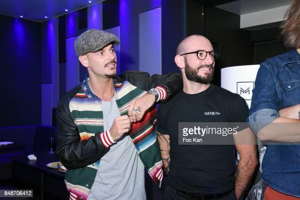 Matt Pokora and Identik team member attend 'Identik' by M Pokora Launch Party at Duplex Club on September 17 2017 in Paris France