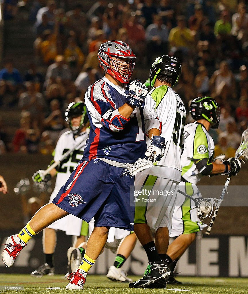 Matt Poskay #7 of the Boston Cannons reacts after scoring a goal against the New York Lizards in the third quarter at Harvard Stadium on June 21, 2013 in Boston, Massachusetts.