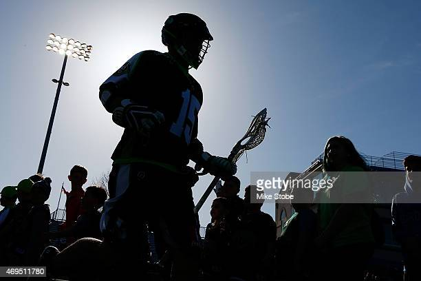 Matt Poskay of the New York Lizards is introduced prior to the game against the Ohio Machine at James M Shuart Stadium on April 12 2015 in Hempstead...